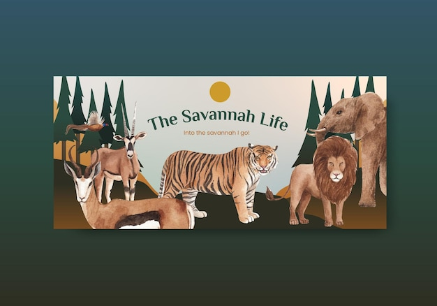 Plakatschablone mit savannah wildlife concept aquarellillustration