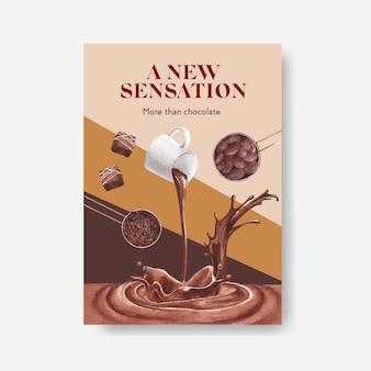 Plakatschablone mit schokoladenwinterkonzeptentwurf für broschüre und werben aquarellvektorillustration