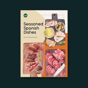 Plakatschablone mit spanischem küchenkonzeptentwurf für broschüren- und flugblattaquarellillustration