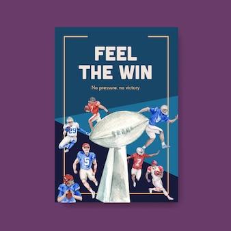 Plakatschablone mit super bowl sport-konzeptentwurf für broschüre und werbung aquarellvektorillustration.