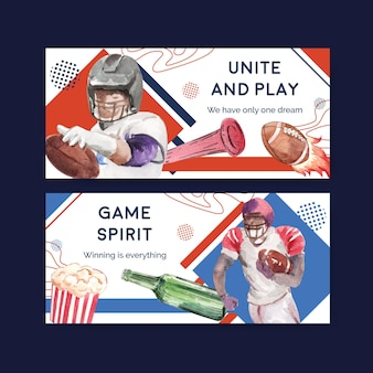 Plakatschablone mit super bowl sport-konzeptentwurf für werbung und vermarktung aquarellvektorillustration.
