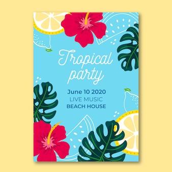 Plakatschablone mit tropischem partystil