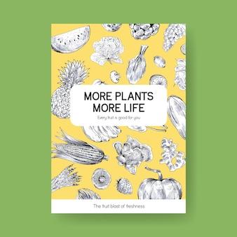 Plakatschablone mit veganem lebensmittelkonzeptdesign.
