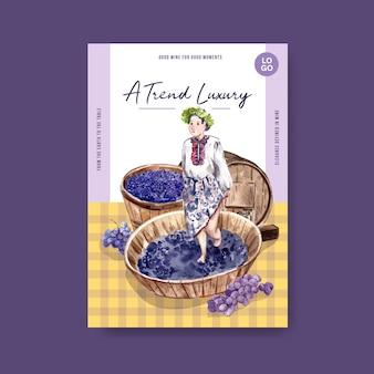 Plakatschablone mit weinbauernhof-konzeptentwurf für werbung und vermarktung aquarellillustration.