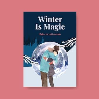 Plakatschablone mit winterliebeskonzeptentwurf für anzeigen und marketingaquarellvektorillustration