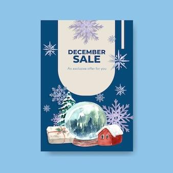 Plakatschablone mit winterverkauf für vermarktung im aquarellstil