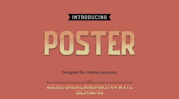 Plakatschrifttypographie-alphabet mit buchstaben und zahlen