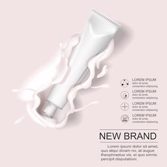 Plakatvorlage für kosmetikproduktanzeigen. kosmetisches modelldesign. cremetubenpaket mit cremigem lotionspritzer. 3d