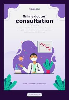 Plakatvorlage mit illustrationscharakter, buch, pflanzen und statistikstat