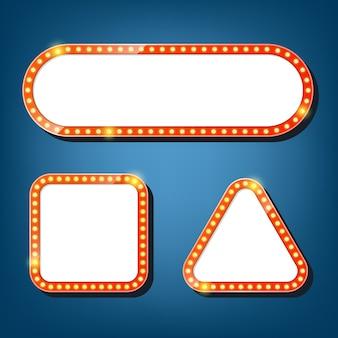 Plakatwand mit glühbirnen. quadratische, dreieckige retro-lichtrahmen.