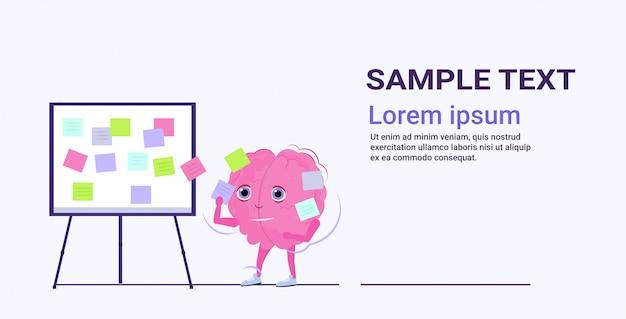 Planen der arbeitsagenda des menschlichen gehirns auf taskboard mit haftnotizen geschäftsplanungskonzept rosa zeichentrickfigur horizontaler kopienraum