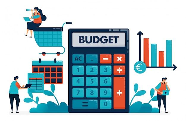 Planen sie das monatliche budget für einkäufe und einkäufe und verwalten sie den finanzplan.