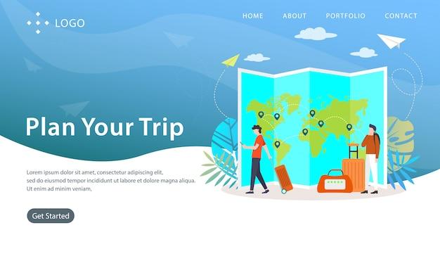 Planen sie ihre reise, website-vektor-illustration