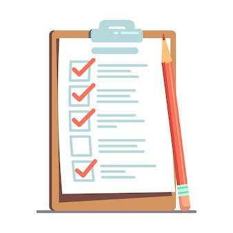 Planen sie kontrolle oder, um liste mit bleistiftillustration zu tun