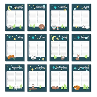 Planer kalender vektor vorlage mit schlafenden tieren
