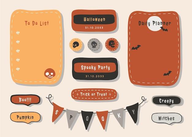 Planer mit niedlicher illustrationshalloween-themengrafik für journaling, aufkleber und scrapbook.