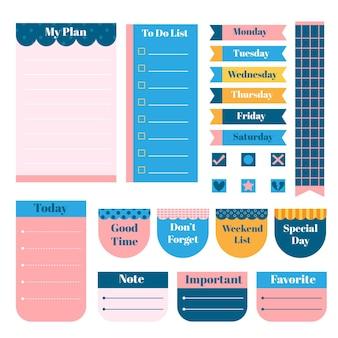 Planer sammelalbum mit verschiedenen schreibwaren papier gesetzt