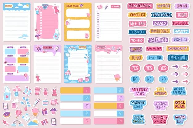 Planer und aufkleber organisierte tägliche notizbuch-tagebuch-tagesordnungserinnerung