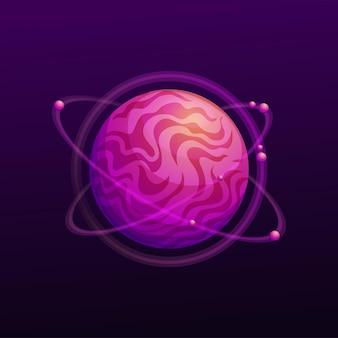 Planet aus violettem magma, umgeben von rotierenden umlaufbahnen, isolierte ferne weltkarikaturikone. vektorkugel, ui-spielgestaltungselement, benutzeroberflächenobjekt. weltraumglobus, atmosphäre bewohnbarer planet
