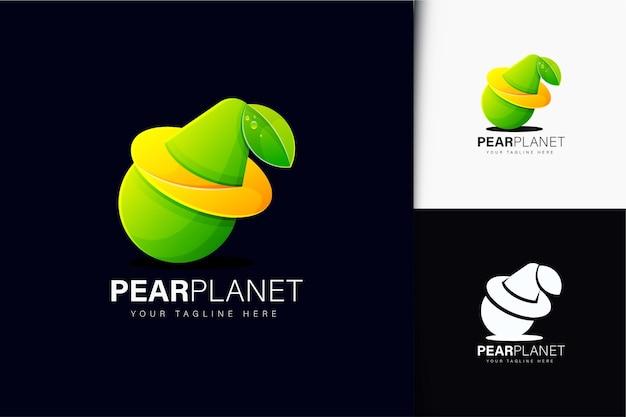 Planet birne logo-design mit farbverlauf