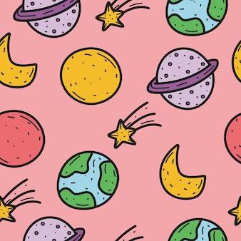 Planet cartoon gekritzel muster design illustration