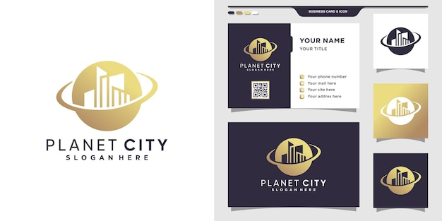 Planet city logo und visitenkartendesign. premium-vektor