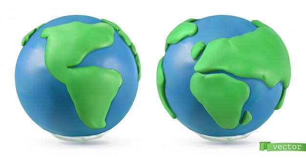 Planet erde. 3d-objekte. handgemachte plastilin kunstillustration