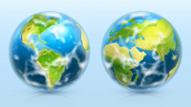 Planet erde. 3d realistischer satz