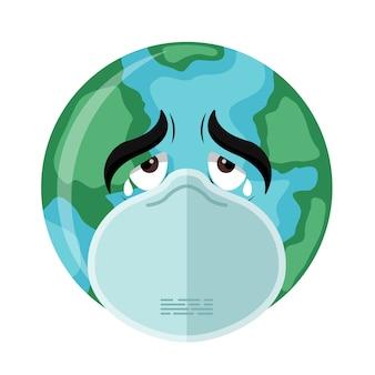 Planet erde mit einer maske, die sich vor dem covid-19-coronavirus schützt
