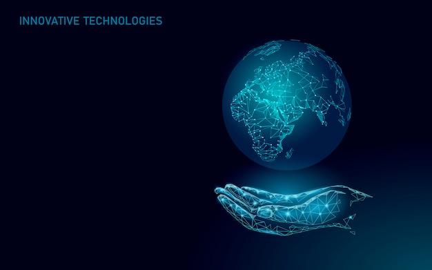 Planet erde ökologie pflege. hand hält sorgfältiges globales naturöko-konzept. nahost afrika europa nebenländer. speichern sie die weltauflösung moderne technologie illustration