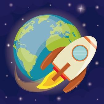 Planet erde raketenbahn