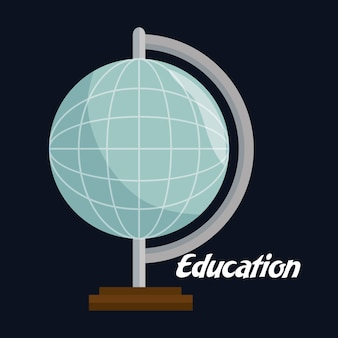 Planet erde schule symbol vektor-illustration design