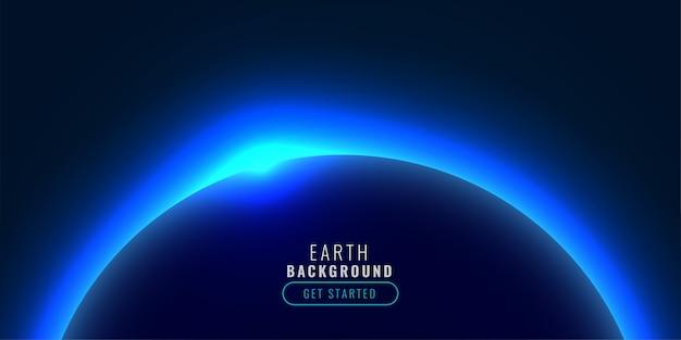 Planet im technologiestil mit blau leuchtendem licht