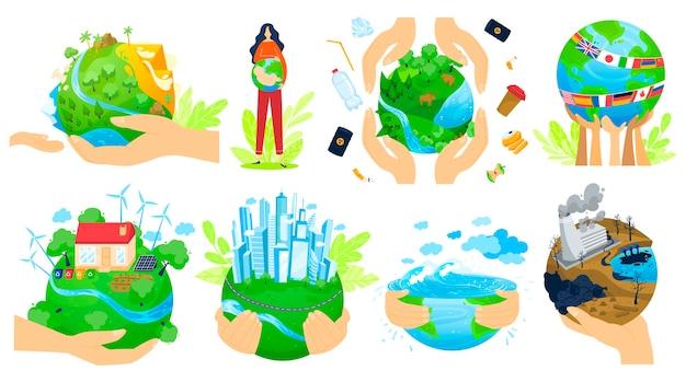 Planet in menschenhänden vektor-illustrationssatz. menschliche armhände halten grünen globus, retten die ökologie des erdplaneten für bessere qualität