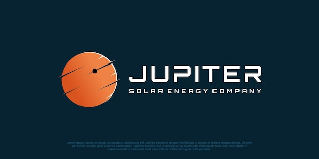 Planet logo abstrakt für solartechnologieunternehmen premium-vektor