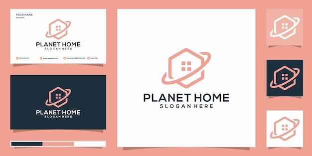 Planet logo mit home line art style und visitenkarte