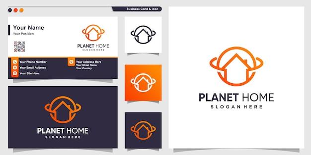 Planet logo mit home line art style und visitenkartendesignhaus modern premium-vektor
