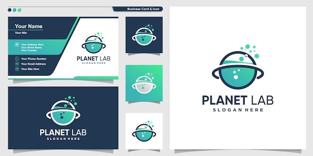 Planet logo mit wissenschaftslaborstil und visitenkartenentwurfsschablone, labor, wissenschaft, idee, schablone,