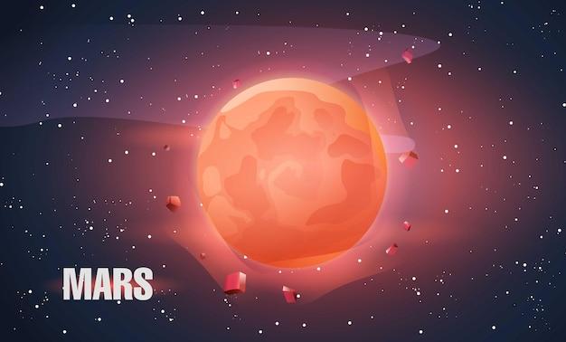 Planet mars im weltraum künstlerische ansicht des mars