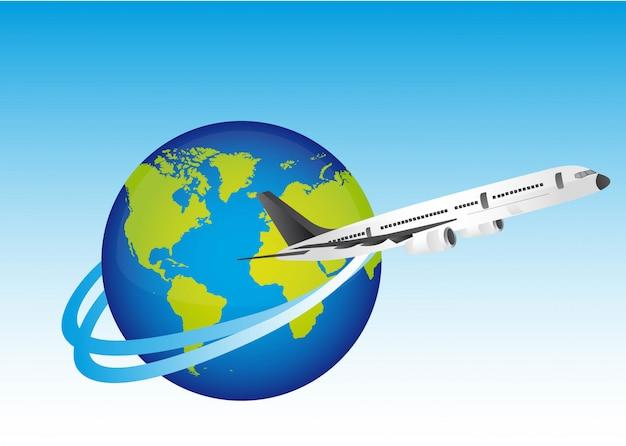 Planet mit dem flugzeug über blauer hintergrundvektorillustration