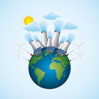 Planet mit kernkraftwerk turbin wind und panel solar
