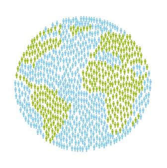 Planet mit menschen auf weißem hintergrund vektor-illustration
