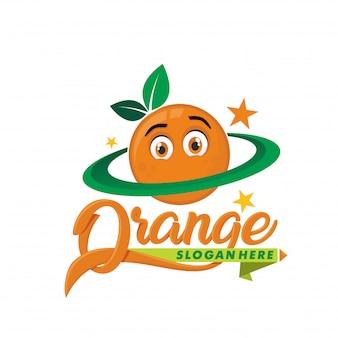 Planet orange logo maskottchen