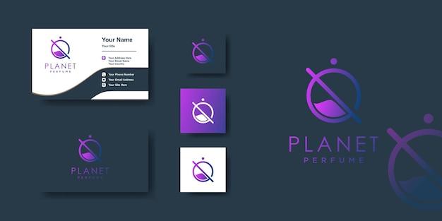 Planet parfüm logo vorlage mit einzigartigem konzept und visitenkartendesign premium-vektor