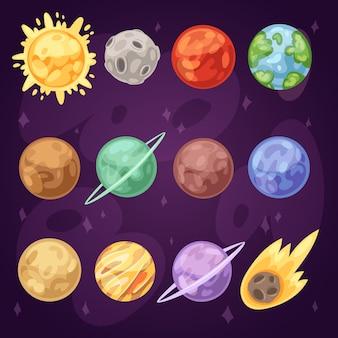 Planet planetensystem im weltraum mit quecksilber venus erde oder mars im planetarium und astronomischen illustration satz jupiter jupiter oder uranus im universum isoliert auf hintergrund