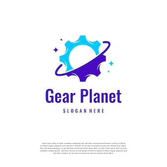 Planet service-logo-design-vorlage, planet gear-logo-vektor-designs, maschinenbau-logo