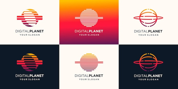 Planet tech logo design vorlage