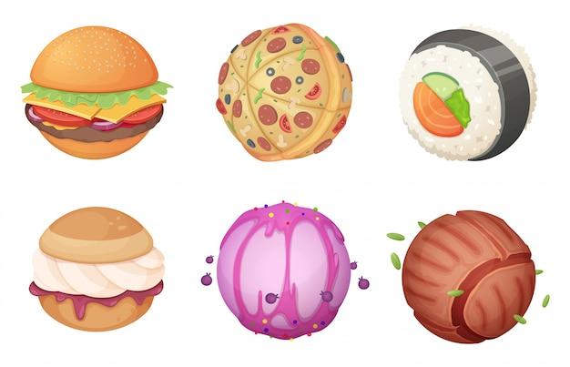 Planeten aus der nahrung. raum gesetzt von der fantastischen ungewöhnlichen karikaturwelt der süßigkeitsburger-küchenfantasie mit ufo-bildern