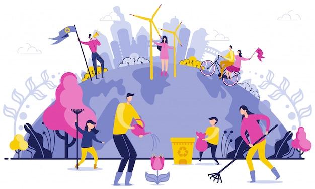Planeten-breite abfall-entsorgungs-flache illustration.