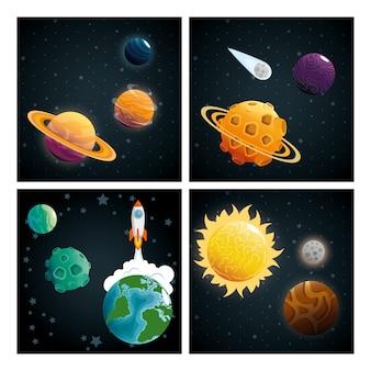 Planeten der sonnensystem-szene